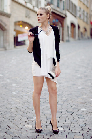 How to wear: black blazer, white chiffon sleeveless top, white mini skirt, black chunky leather pumps