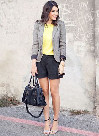 How to wear: grey wool blazer, yellow sleeveless top, black shorts, silver leather heeled sandals