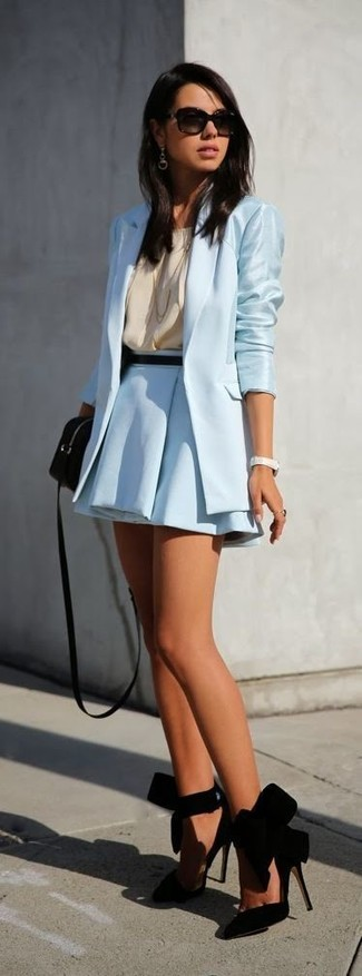 How to wear: light blue blazer, beige silk sleeveless top, light blue skater skirt, black suede pumps