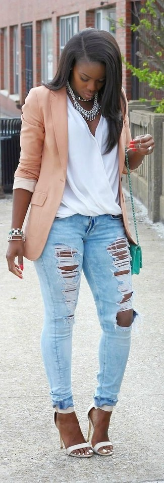 How to wear: pink blazer, white silk sleeveless top, light blue ripped skinny jeans, white leather heeled sandals