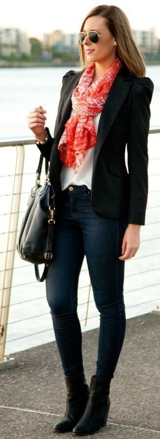 How to wear: black blazer, white silk sleeveless top, navy skinny jeans, black leather ankle boots