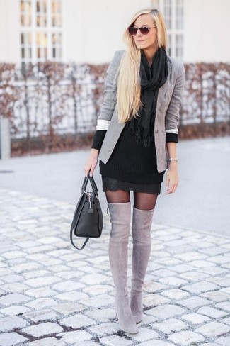 How to wear: grey blazer, black knit sweater dress, grey suede over the knee boots, black leather satchel bag