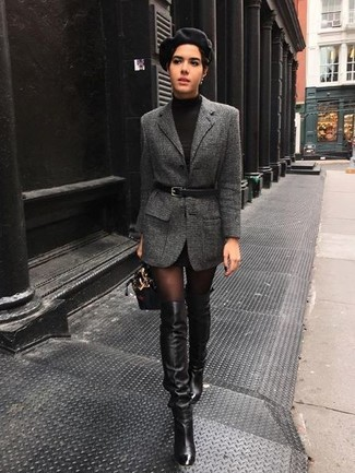 How to wear: charcoal wool blazer, black sweater dress, black leather over the knee boots, black leather handbag