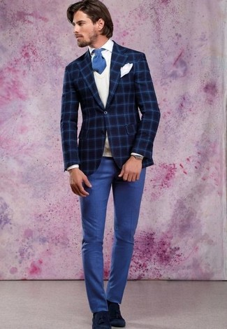 How to wear: navy check wool blazer, white sweater vest, white dress shirt, blue dress pants