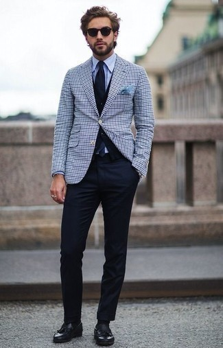 How to Wear Black Leather Tassel Loafers: Pairing a white and navy gingham blazer with navy chinos is an on-point idea for an effortlessly neat getup. Black leather tassel loafers will give an extra dose of style to an otherwise straightforward outfit.
