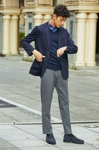 Dress Pants Outfits For Men: Teaming a navy blazer with dress pants is an amazing option for a stylish and sophisticated outfit. If not sure as to what to wear on the shoe front, add a pair of navy suede loafers to the mix.
