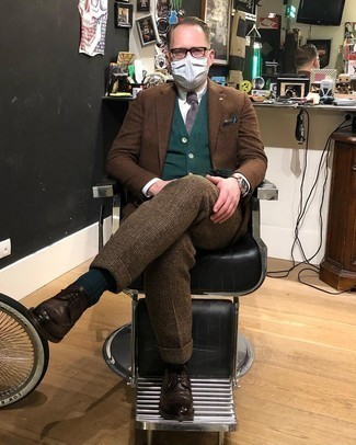 Dark Green Sweater with White Shirt Outfits For Men: Reach for a dark green sweater and a white shirt for a sleek elegant menswear style. Want to go all out when it comes to shoes? Add dark brown leather brogues to the mix.