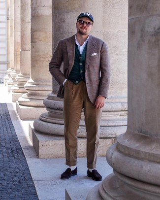 Men's Outfits 2021: A brown plaid wool blazer and brown corduroy dress pants are worth adding to your list of essential menswear pieces. Dark brown suede loafers are a never-failing footwear option that's full of personality.