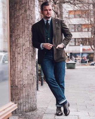 Dark Brown Leather Brogues Outfits: To pull together a casual outfit with a clear fashion twist, marry a dark brown plaid wool blazer with navy jeans. Go the extra mile and change up your look by rounding off with a pair of dark brown leather brogues.