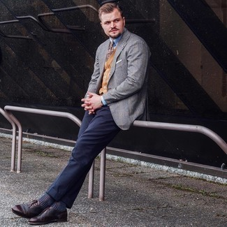 Dark Brown Leather Brogues Outfits: Reach for a grey check wool blazer and navy dress pants for a classic and classy silhouette. On the footwear front, this outfit is completed wonderfully with dark brown leather brogues.