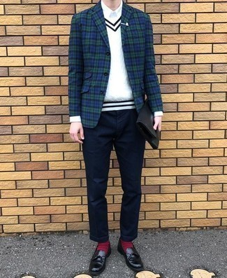 Red Socks Outfits For Men: For a relaxed ensemble, try teaming a navy and green plaid blazer with red socks — these pieces go nicely together. To bring a little classiness to this ensemble, complete your look with a pair of black leather tassel loafers.