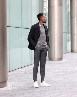 Grey Sweatshirt Outfits For Men In Their 30s: For a laid-back look with a modern spin, team a grey sweatshirt with grey chinos. If in doubt as to what to wear when it comes to footwear, go with white canvas low top sneakers. Ideal if you're after some seriously inspiring over-30 off-duty style.