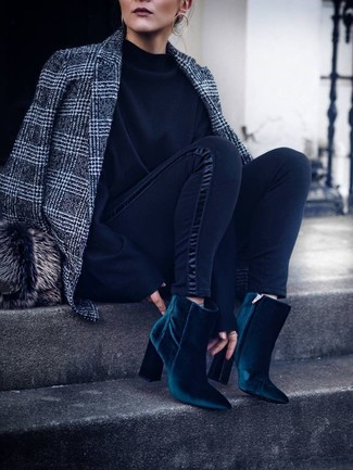 How to wear: grey plaid wool blazer, black sweatshirt, black leggings, teal velvet ankle boots