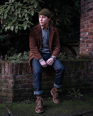 Olive Beanie Outfits For Men: To put together an off-duty look with an edgy finish, pair a brown corduroy blazer with an olive beanie. Finish off with a pair of dark brown leather casual boots to punch up your look.