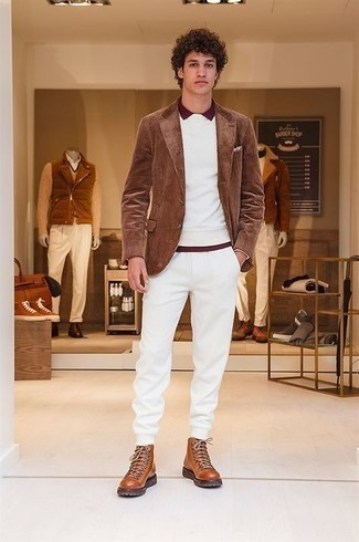 Jacket Fall Outfits For Men: A jacket and white sweatpants are the kind of a no-brainer off-duty look that you so terribly need when you have no extra time. Tobacco leather work boots add a new depth to your look. This one is an excellent option if you're looking for an amazing transition getup.
