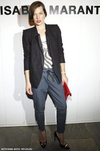 Blazer t shirt a col rond pantalon slim large 6137