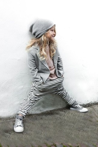 Girls' Looks & Outfits: What To Wear Casually: Reach for a grey blazer and white horizontal striped leggings for your little princess for an easy to wear, everyday look. Finish this getup with grey sneakers.