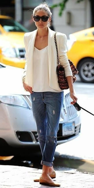 Olivia Palermo wearing White Blazer, White Chiffon Tank, Blue Ripped Boyfriend Jeans, Tan Leather Ballerina Shoes