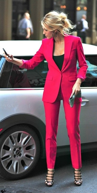 If it's comfort and practicality that you're searching for in an outfit, pair a neon pink blazer with neon pink trousers. Black leather gladiator sandals are the right shoes here to get you noticed. Undoubtedly, it's easier to work through a warm day in a summery getup such as this one.