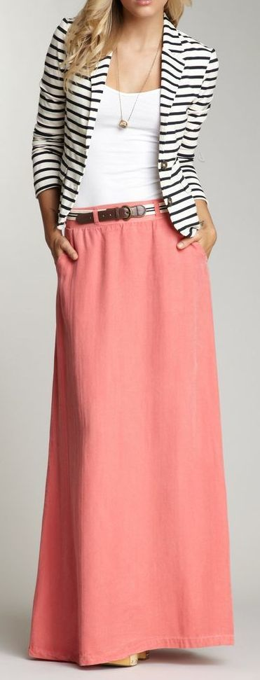 How to Wear a Pink Maxi Skirt (17 looks) | Women's Fashion