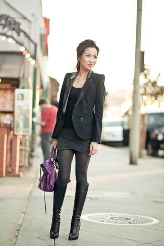 A black blazer and a dark grey mini skirt feel perfectly suited for weekend activities of all kinds. This outfit is complemented perfectly with black leather knee high boots.