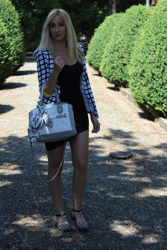 How to wear: white and black plaid blazer, black tank, black mini skirt, grey suede flat sandals