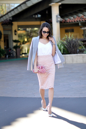 How to wear: light blue blazer, white silk tank, pink lace pencil skirt, silver leather pumps