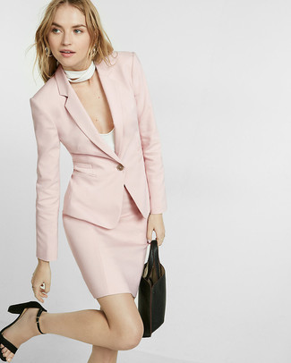 Wear a pink blazer and a pink pencil skirt to create a chic, glamorous look. Black suede heeled sandals look awesome here. With the departure of winter comes a sense of spring renewal and the need for a fresh ensemble just like this one.