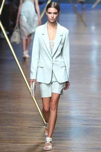 How to wear: mint blazer, white tank, mint shorts, white leather flat sandals