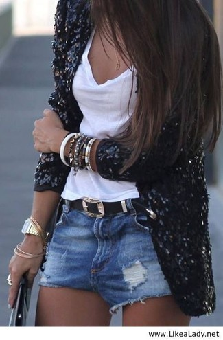 Opt for a black sequin blazer and blue destroyed denim shorts for both chic and easy-to-wear look.