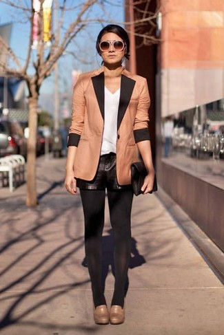 How to wear: tan blazer, white tank, black leather shorts, tan leather pumps