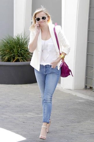 Reese Witherspoon wearing White Blazer, White Silk Tank, Blue Skinny Jeans, Beige Leather Heeled Sandals