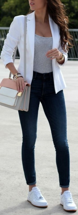 White Blazer with Sneakers Outfits For
