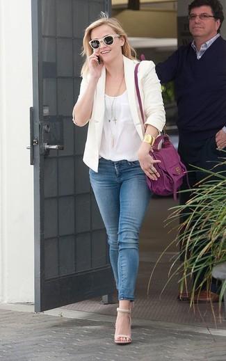 How to wear: beige blazer, white silk tank, blue skinny jeans, beige leather heeled sandals