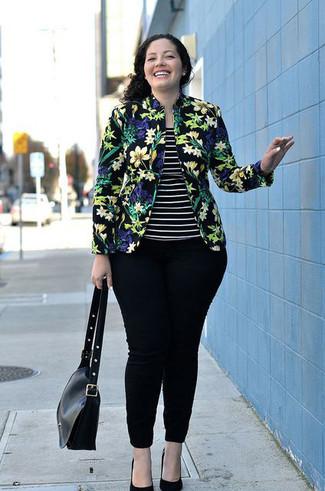 Women's Black Floral Blazer, Black and White Horizontal Striped Tank, Black Skinny Jeans, Black Suede Pumps