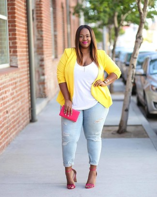How to wear: yellow blazer, white tank, light blue ripped skinny jeans, hot pink leather heeled sandals