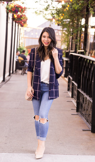 How to wear: navy check blazer, white lace tank, light blue ripped skinny jeans, beige leather pumps