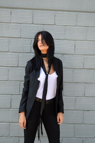 How to wear: black blazer, white tank, black skinny pants, black leather belt