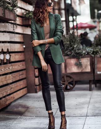 How to wear: dark green blazer, brown tank, black leather skinny pants, dark brown elastic ankle boots