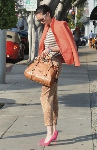 Women's Orange Blazer, Brown Horizontal Striped Tank, Tan Polka Dot Skinny Pants, Hot Pink Leather Pumps