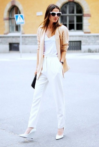 How to wear: beige blazer, white tank, white tapered pants, white leather wedge pumps