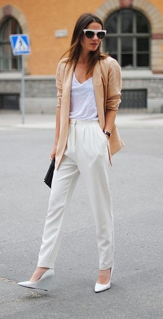 How to wear: tan blazer, white tank, white tapered pants, white leather wedge pumps