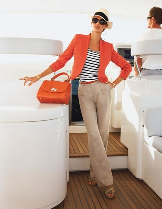 How to wear: orange blazer, white and navy horizontal striped tank, beige linen wide leg pants, beige leather wedge sandals