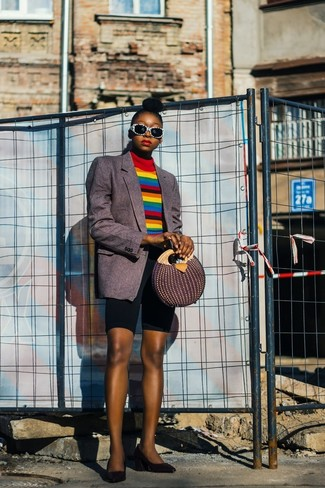 How to wear: charcoal vertical striped blazer, multi colored horizontal striped turtleneck, black bike shorts, black leather pumps
