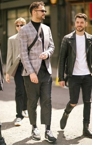 How to Wear Black and White Print Socks For Men: Consider pairing a grey plaid blazer with black and white print socks to pull together an interesting and current casual outfit. Black and white athletic shoes act as the glue that will bring this outfit together.