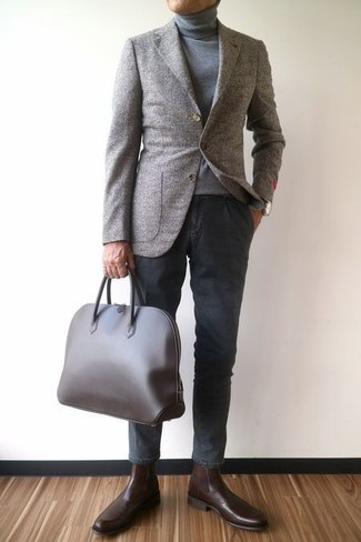 How to wear: grey wool blazer, grey turtleneck, charcoal chinos, dark brown leather chelsea boots