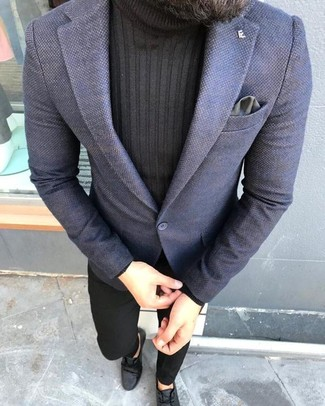 How to wear: navy blazer, black turtleneck, black chinos, black leather desert boots