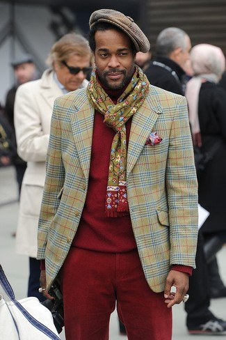 How to wear: olive plaid blazer, red turtleneck, red corduroy chinos, brown gingham flat cap