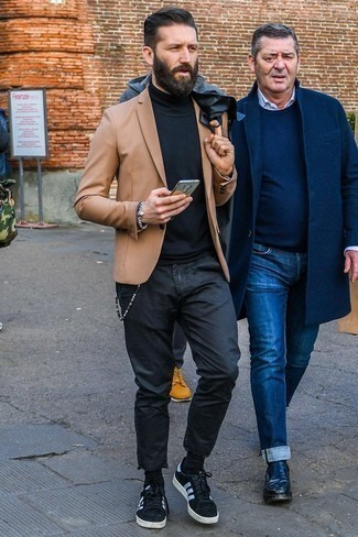 How to Wear Black Socks In Your 30s For Men: The formula for a killer casual look? A tan blazer with black socks. Shake up this look with a pair of black and white suede low top sneakers.