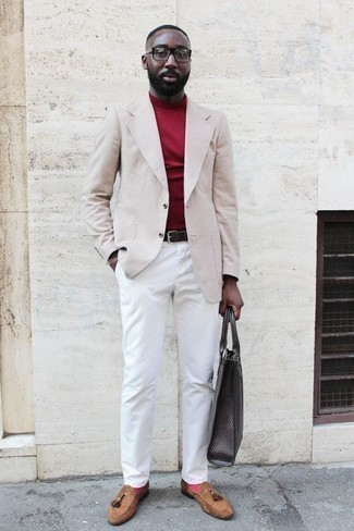 How to Wear White Chinos: A beige check blazer and white chinos are among the unshakeable foundations of any functional wardrobe. Tan suede tassel loafers are guaranteed to bring a hint of elegance to your outfit.